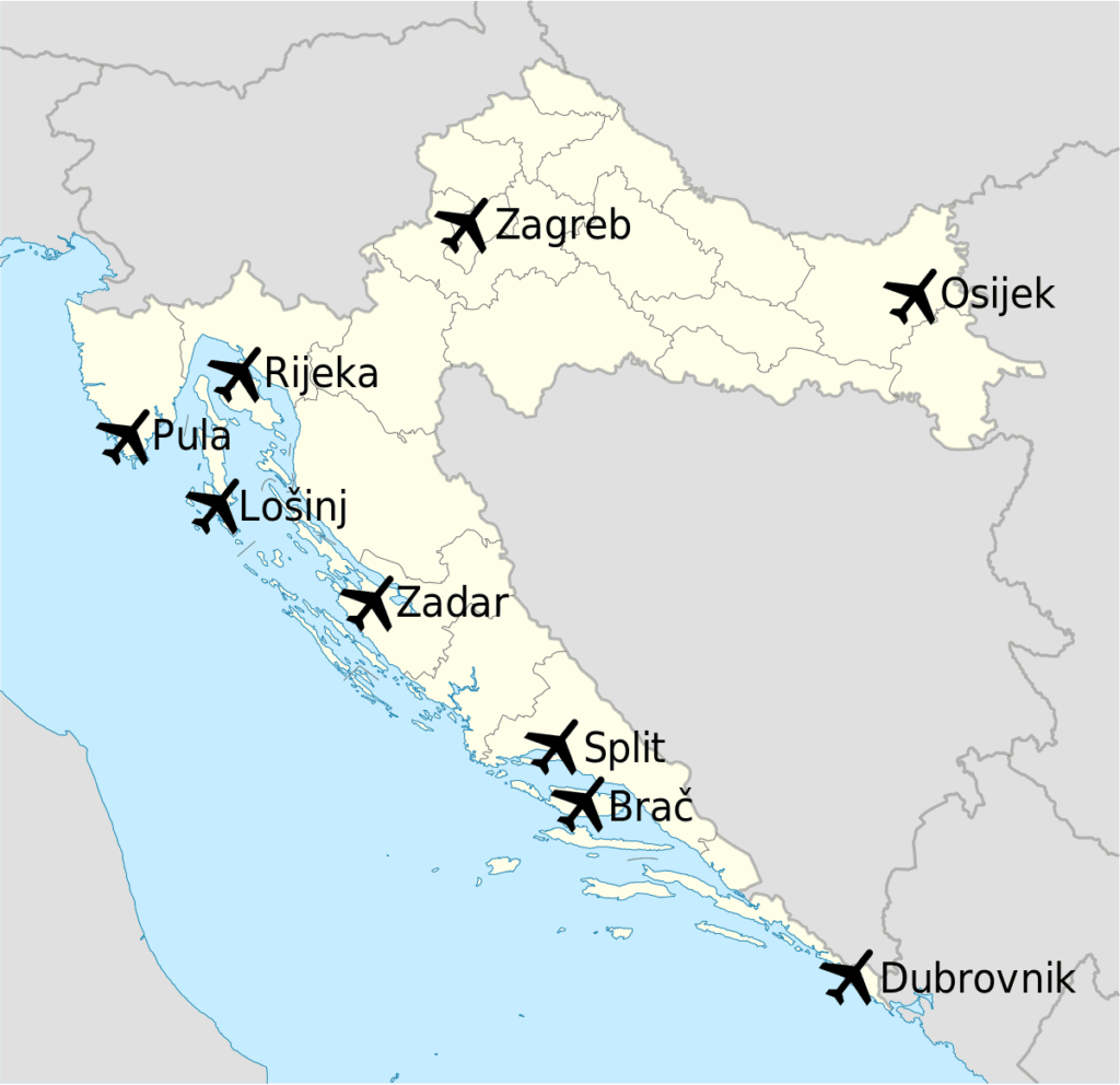 To and From Croatia Airports airport map