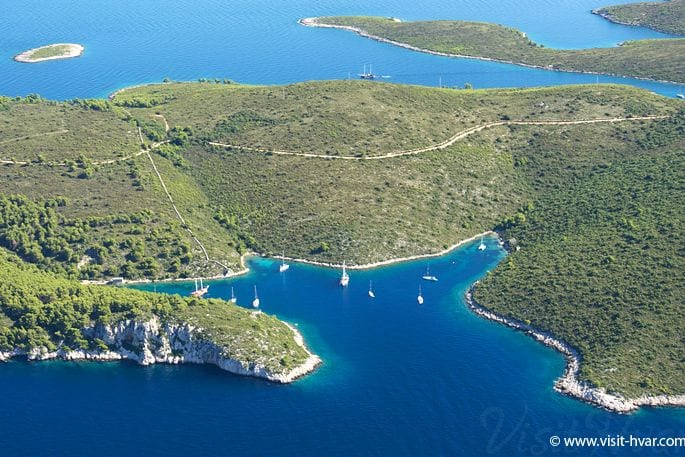 Hvar Island in Croatia West bay Vela Garska